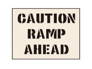 Stencil - CAUTION RAMP AHEAD (190mm x 300mm - other sizes available)
