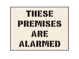 Stencil - THESE PREMISES ARE ALARMED (190mm x 300mm - other sizes available)