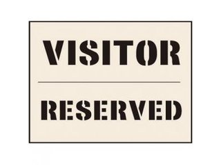 Stencil - VISITOR RESERVED (190mm x 300mm - other sizes available)